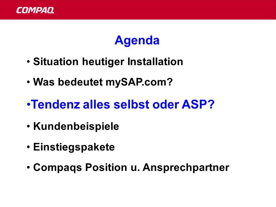 1987Gemeinsame C/S Entwicklung 1988erste UNIX Entwicklungsumgebung für SAP 1990weltweite Premiere des R/3 Systems 1991erste R/3 Pilot Installation 1992erstes R/3 Produktiv System 1993SAP wählt Compaq als NT Entwicklungs Plattform 1994erster produktiver R/3 Kunde auf NT: Bally (Schweiz) 1996 größter produktiver NT Kunde: Deutsche Post 1996erster NT SAP R/3 Cluster 19971.000 NT Installationen mit SAP R/3 19985.000 SAP R/3 Installationen auf Compaq 1999 10.000ste SAP R/3 Installation auf NT 95/96/97/98/99 gewinnt Compaq den SAP Customer Satisfaction Award Die Meilensteine: