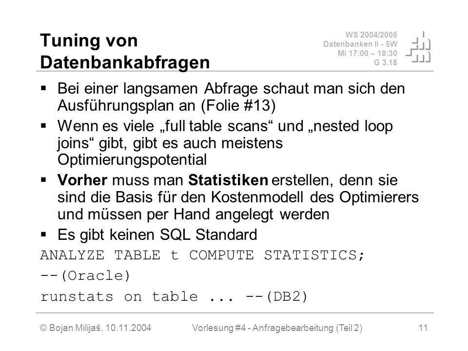 WS 2004/2005 Datenbanken II - 5W Mi 17:00 – 18:30 G 3.18 © Bojan Milijaš, 10.11.2004Vorlesung #4 - Anfragebearbeitung (Teil 2)11 Tuning von Datenbankabfragen Bei einer langsamen Abfrage schaut man sich den Ausführungsplan an (Folie #13) Wenn es viele full table scans und nested loop joins gibt, gibt es auch meistens Optimierungspotential Vorher muss man Statistiken erstellen, denn sie sind die Basis für den Kostenmodell des Optimierers und müssen per Hand angelegt werden Es gibt keinen SQL Standard ANALYZE TABLE t COMPUTE STATISTICS; --(Oracle) runstats on table...