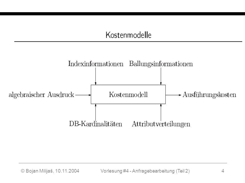WS 2004/2005 Datenbanken II - 5W Mi 17:00 – 18:30 G 3.18 © Bojan Milijaš, 10.11.2004Vorlesung #4 - Anfragebearbeitung (Teil 2)4 Kostenmodelle (2)