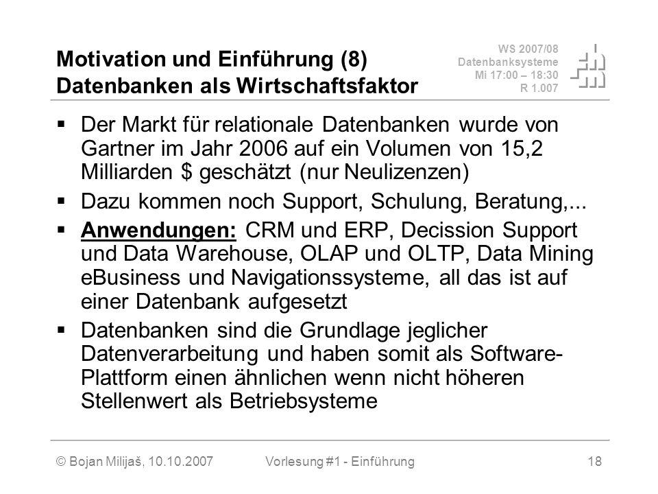 WS 2007/08 Datenbanksysteme Mi 17:00 – 18:30 R 1.007 © Bojan Milijaš, 10.10.2007Vorlesung #1 - Einführung18 Motivation und Einführung (8) Datenbanken