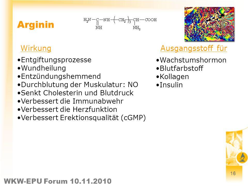 WKW-EPU Forum 10.11.2010 16 Arginin Entgiftungsprozesse Wundheilung Entzündungshemmend Durchblutung der Muskulatur: NO Senkt Cholesterin und Blutdruck