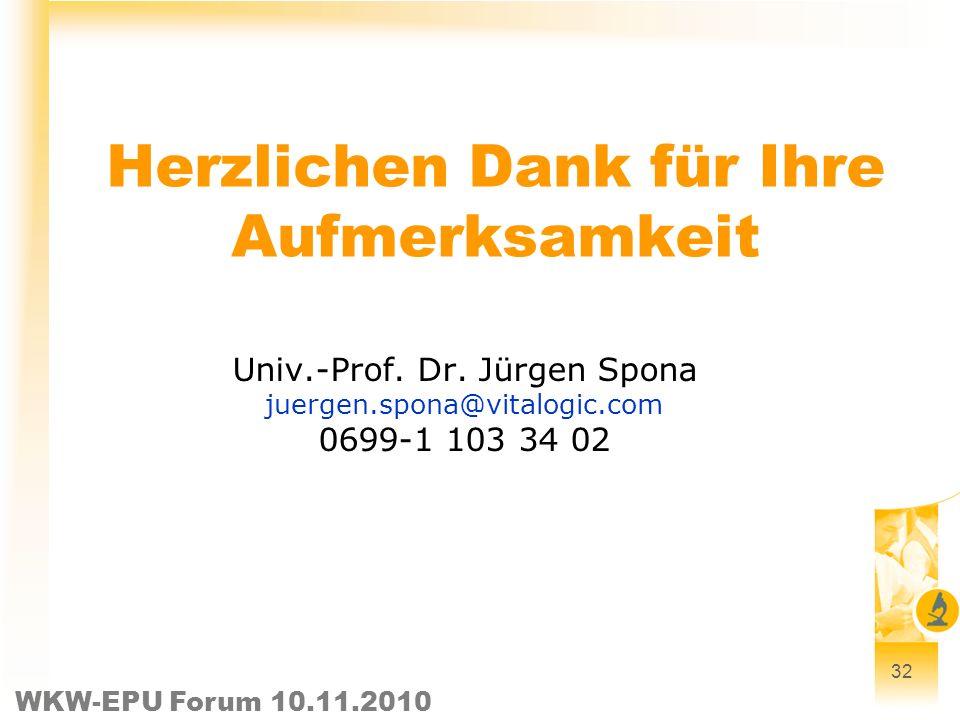 WKW-EPU Forum 10.11.2010 32 Herzlichen Dank für Ihre Aufmerksamkeit Univ.-Prof. Dr. Jürgen Spona juergen.spona@vitalogic.com 0699-1 103 34 02