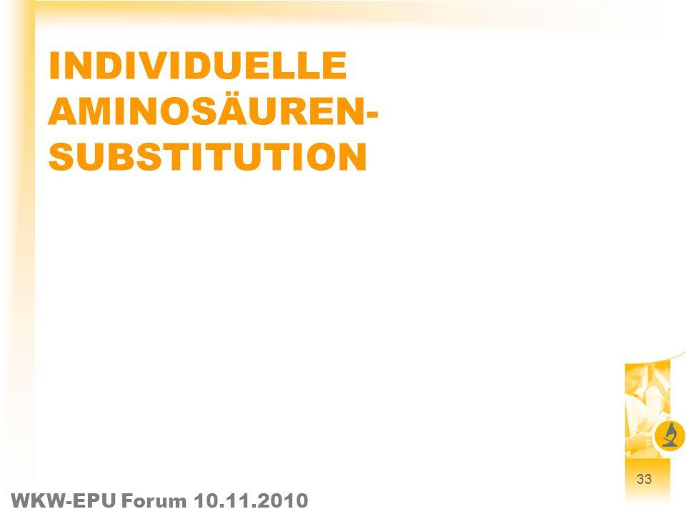 WKW-EPU Forum 10.11.2010 33 INDIVIDUELLE AMINOSÄUREN- SUBSTITUTION