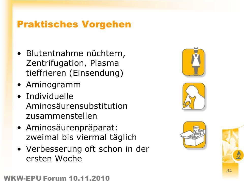 WKW-EPU Forum 10.11.2010 34 Praktisches Vorgehen Blutentnahme nüchtern, Zentrifugation, Plasma tieffrieren (Einsendung) Aminogramm Individuelle Aminos
