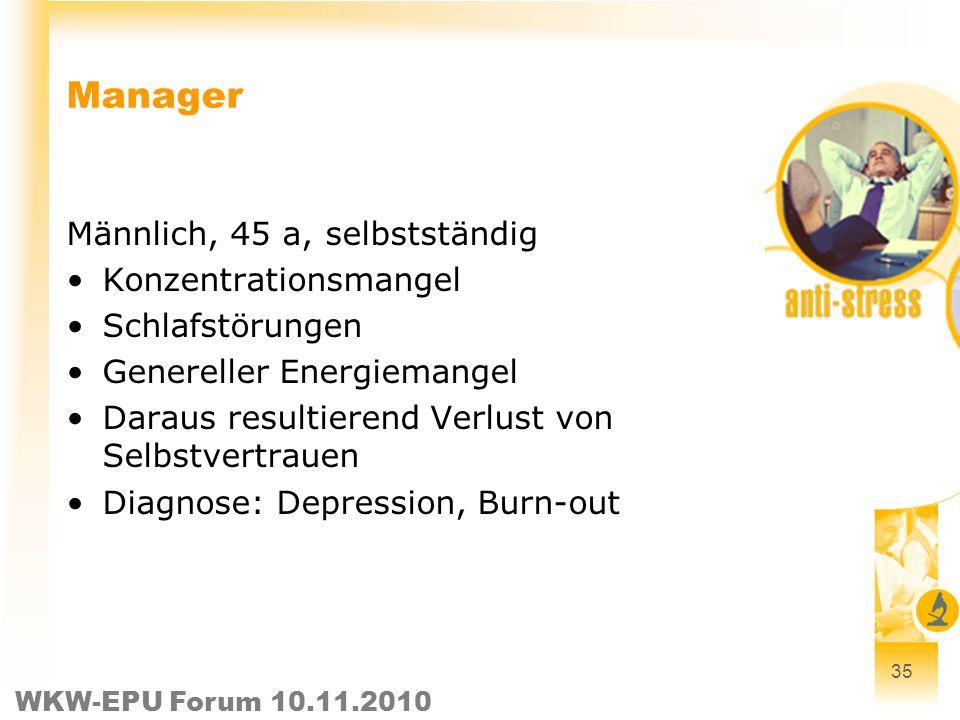 WKW-EPU Forum 10.11.2010 35 Manager Männlich, 45 a, selbstständig Konzentrationsmangel Schlafstörungen Genereller Energiemangel Daraus resultierend Ve