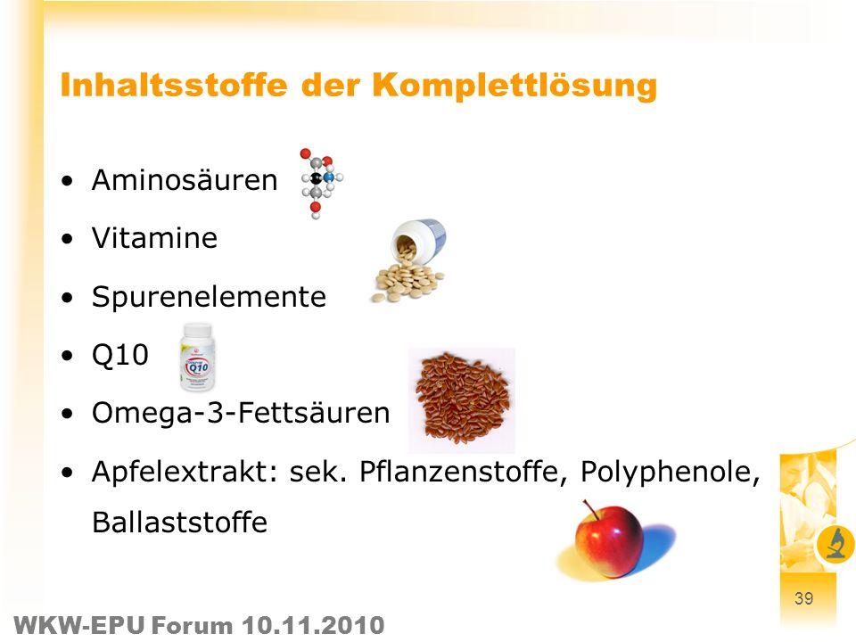 WKW-EPU Forum 10.11.2010 Inhaltsstoffe der Komplettlösung Aminosäuren Vitamine Spurenelemente Q10 Omega-3-Fettsäuren Apfelextrakt: sek. Pflanzenstoffe