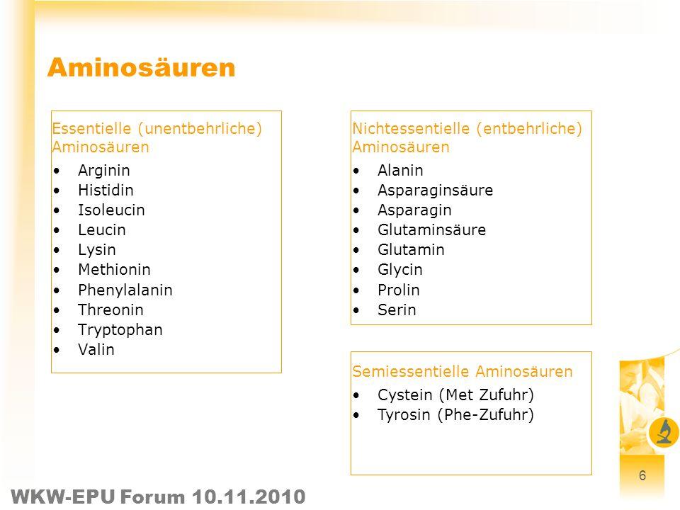 6 Aminosäuren Arginin Histidin Isoleucin Leucin Lysin Methionin Phenylalanin Threonin Tryptophan Valin Essentielle (unentbehrliche) Aminosäuren Nichte