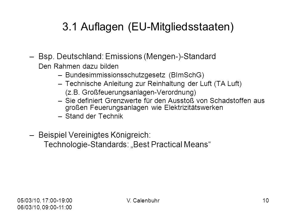 05/03/10, 17:00-19:00 06/03/10, 09:00-11:00 V. Calenbuhr10 3.1 Auflagen (EU-Mitgliedsstaaten) –Bsp. Deutschland: Emissions (Mengen-)-Standard Den Rahm