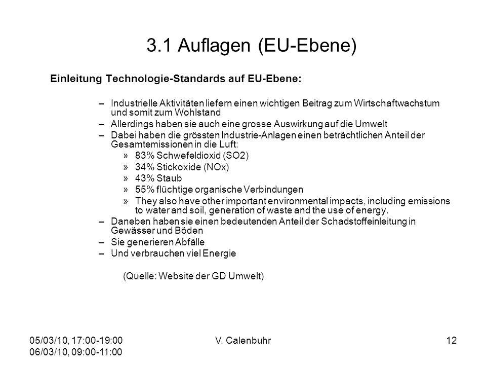 05/03/10, 17:00-19:00 06/03/10, 09:00-11:00 V. Calenbuhr12 3.1 Auflagen (EU-Ebene) Einleitung Technologie-Standards auf EU-Ebene: –Industrielle Aktivi
