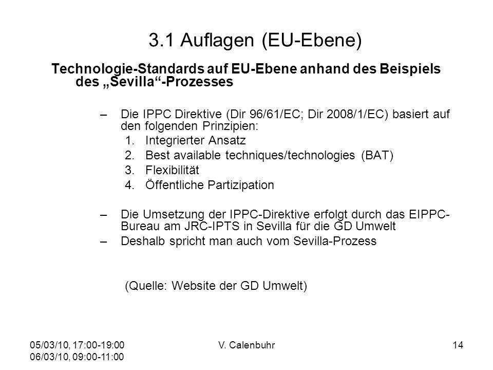 05/03/10, 17:00-19:00 06/03/10, 09:00-11:00 V. Calenbuhr14 3.1 Auflagen (EU-Ebene) Technologie-Standards auf EU-Ebene anhand des Beispiels des Sevilla