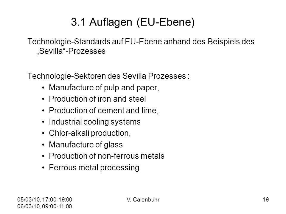 05/03/10, 17:00-19:00 06/03/10, 09:00-11:00 V. Calenbuhr19 3.1 Auflagen (EU-Ebene) Technologie-Standards auf EU-Ebene anhand des Beispiels des Sevilla