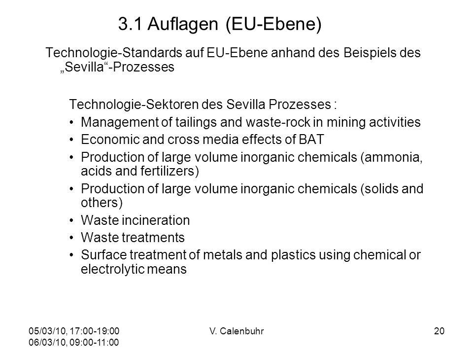 05/03/10, 17:00-19:00 06/03/10, 09:00-11:00 V. Calenbuhr20 Technologie-Standards auf EU-Ebene anhand des Beispiels des Sevilla-Prozesses Technologie-S