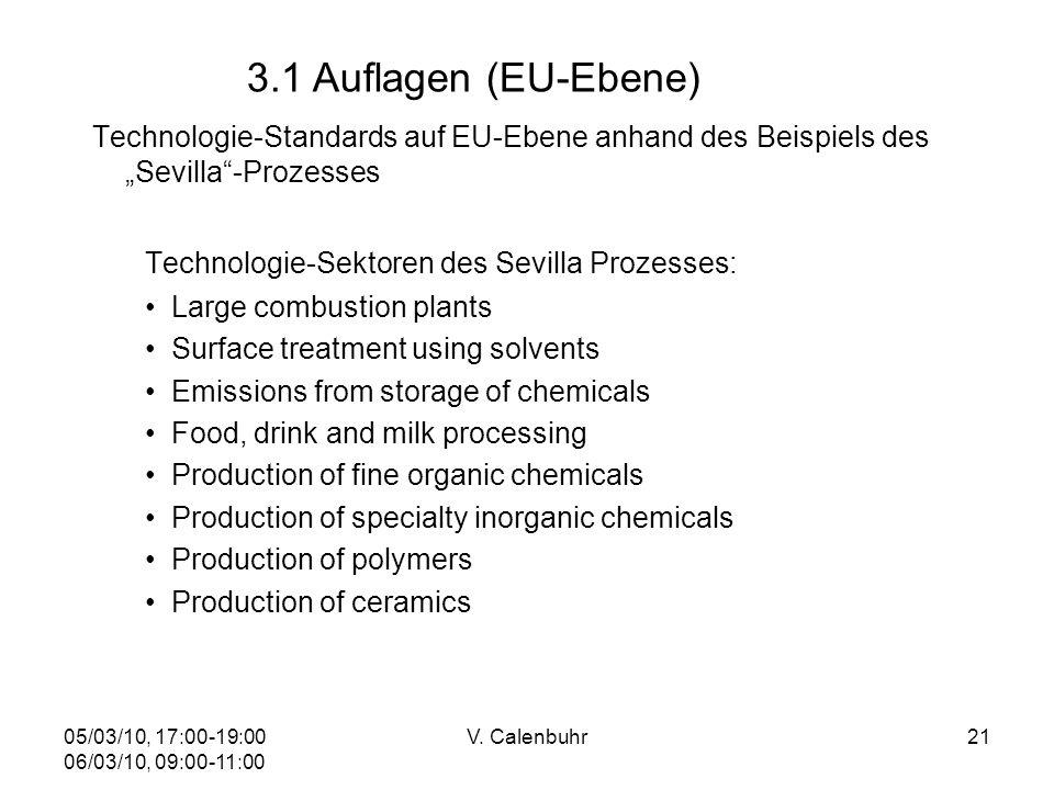 05/03/10, 17:00-19:00 06/03/10, 09:00-11:00 V. Calenbuhr21 Technologie-Standards auf EU-Ebene anhand des Beispiels des Sevilla-Prozesses Technologie-S