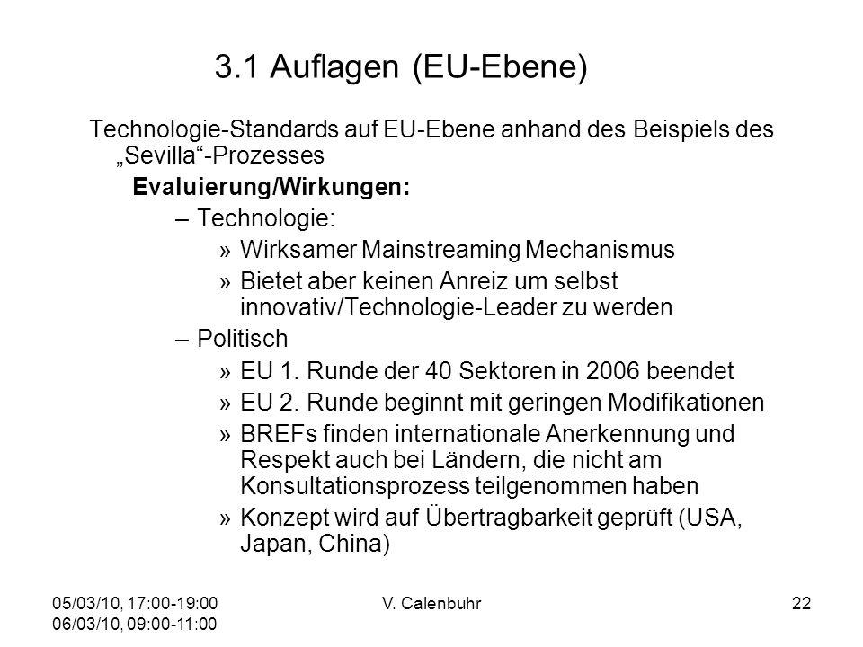 05/03/10, 17:00-19:00 06/03/10, 09:00-11:00 V. Calenbuhr22 3.1 Auflagen (EU-Ebene) Technologie-Standards auf EU-Ebene anhand des Beispiels des Sevilla