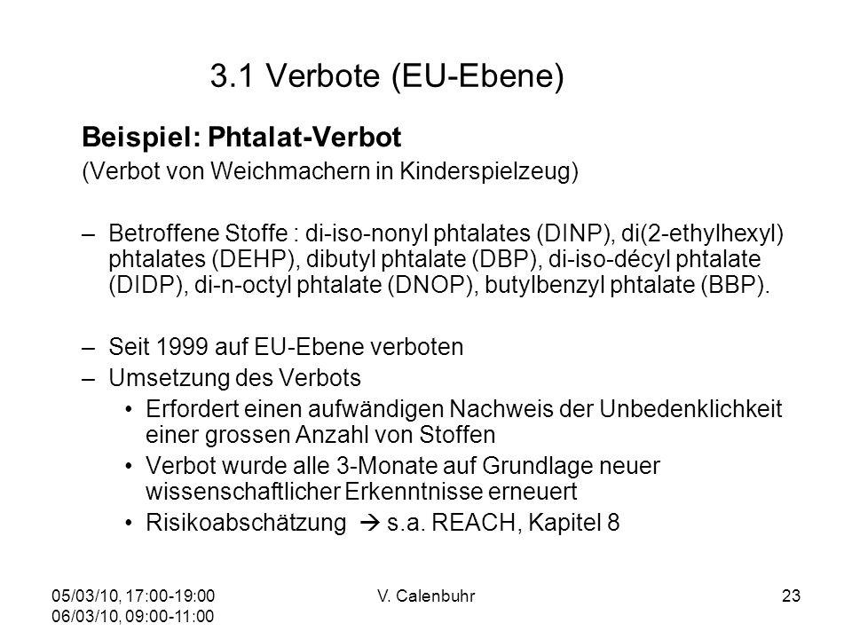 05/03/10, 17:00-19:00 06/03/10, 09:00-11:00 V. Calenbuhr23 3.1 Verbote (EU-Ebene) Beispiel: Phtalat-Verbot (Verbot von Weichmachern in Kinderspielzeug
