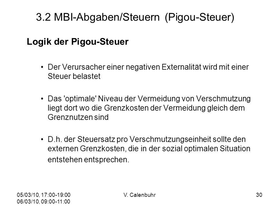 05/03/10, 17:00-19:00 06/03/10, 09:00-11:00 V. Calenbuhr30 3.2 MBI-Abgaben/Steuern (Pigou-Steuer) Logik der Pigou-Steuer Der Verursacher einer negativ