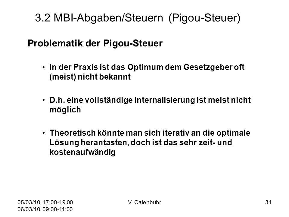 05/03/10, 17:00-19:00 06/03/10, 09:00-11:00 V. Calenbuhr31 3.2 MBI-Abgaben/Steuern (Pigou-Steuer) Problematik der Pigou-Steuer In der Praxis ist das O