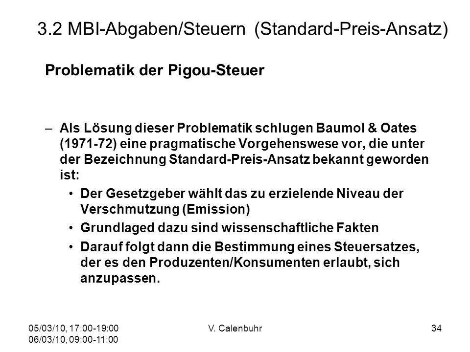 05/03/10, 17:00-19:00 06/03/10, 09:00-11:00 V. Calenbuhr34 3.2 MBI-Abgaben/Steuern (Standard-Preis-Ansatz) Problematik der Pigou-Steuer –Als Lösung di