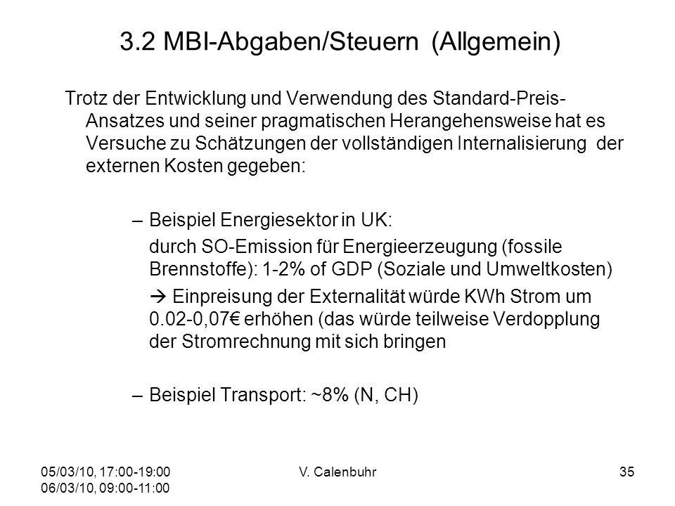 05/03/10, 17:00-19:00 06/03/10, 09:00-11:00 V. Calenbuhr35 3.2 MBI-Abgaben/Steuern (Allgemein) Trotz der Entwicklung und Verwendung des Standard-Preis