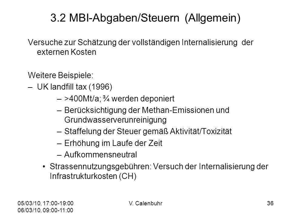 05/03/10, 17:00-19:00 06/03/10, 09:00-11:00 V. Calenbuhr36 3.2 MBI-Abgaben/Steuern (Allgemein) Versuche zur Schätzung der vollständigen Internalisieru