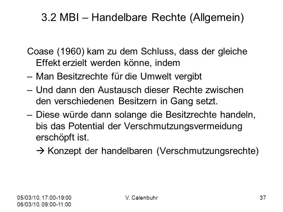 05/03/10, 17:00-19:00 06/03/10, 09:00-11:00 V. Calenbuhr37 3.2 MBI – Handelbare Rechte (Allgemein) Coase (1960) kam zu dem Schluss, dass der gleiche E
