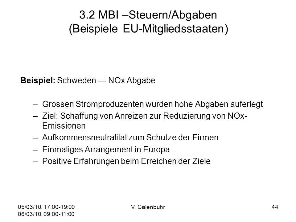 05/03/10, 17:00-19:00 06/03/10, 09:00-11:00 V. Calenbuhr44 3.2 MBI –Steuern/Abgaben (Beispiele EU-Mitgliedsstaaten) Beispiel: Schweden NOx Abgabe –Gro