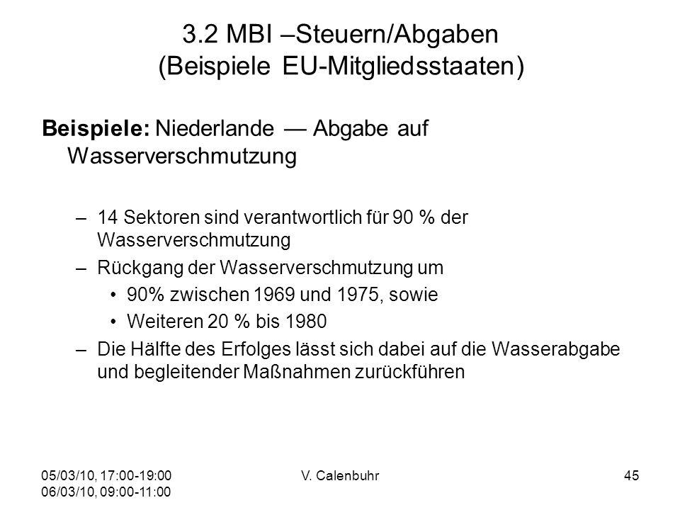 05/03/10, 17:00-19:00 06/03/10, 09:00-11:00 V. Calenbuhr45 3.2 MBI –Steuern/Abgaben (Beispiele EU-Mitgliedsstaaten) Beispiele: Niederlande Abgabe auf