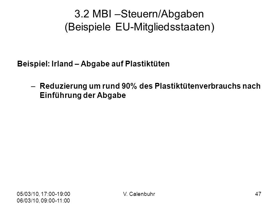 05/03/10, 17:00-19:00 06/03/10, 09:00-11:00 V. Calenbuhr47 3.2 MBI –Steuern/Abgaben (Beispiele EU-Mitgliedsstaaten) Beispiel: Irland – Abgabe auf Plas