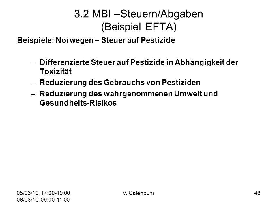 05/03/10, 17:00-19:00 06/03/10, 09:00-11:00 V. Calenbuhr48 3.2 MBI –Steuern/Abgaben (Beispiel EFTA) Beispiele: Norwegen – Steuer auf Pestizide –Differ