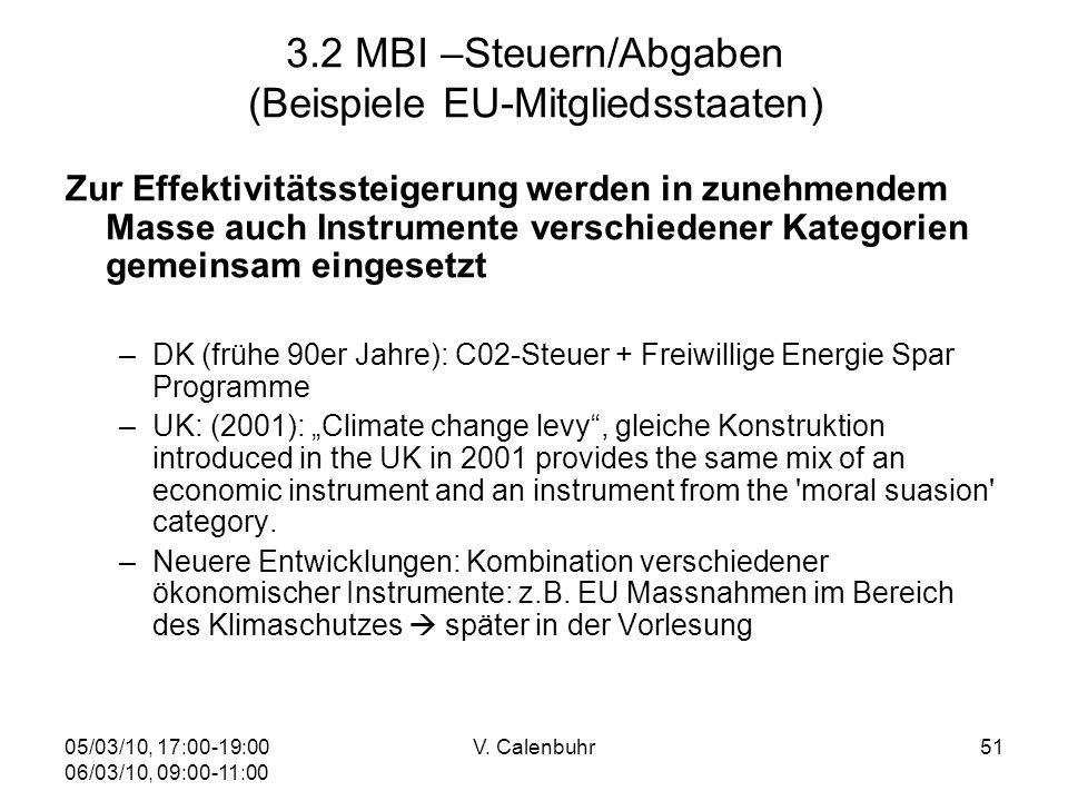 05/03/10, 17:00-19:00 06/03/10, 09:00-11:00 V. Calenbuhr51 3.2 MBI –Steuern/Abgaben (Beispiele EU-Mitgliedsstaaten) Zur Effektivitätssteigerung werden