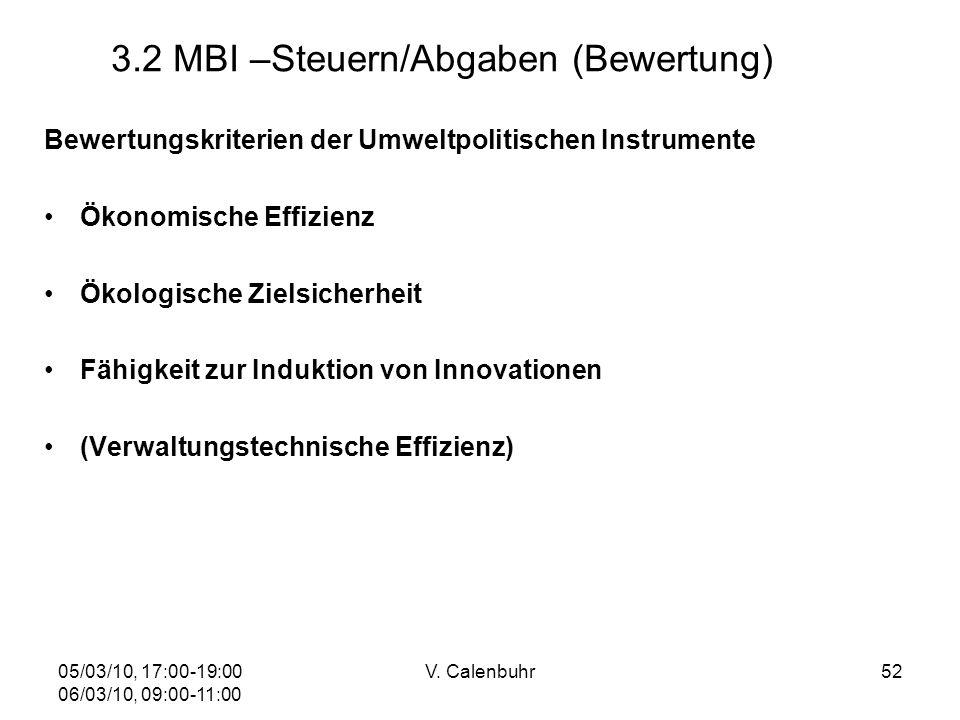 05/03/10, 17:00-19:00 06/03/10, 09:00-11:00 V. Calenbuhr52 3.2 MBI –Steuern/Abgaben (Bewertung) Bewertungskriterien der Umweltpolitischen Instrumente