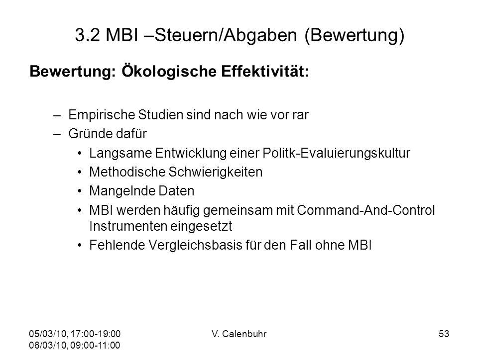05/03/10, 17:00-19:00 06/03/10, 09:00-11:00 V. Calenbuhr53 3.2 MBI –Steuern/Abgaben (Bewertung) Bewertung: Ökologische Effektivität: –Empirische Studi