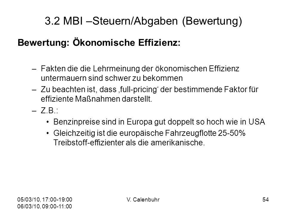 05/03/10, 17:00-19:00 06/03/10, 09:00-11:00 V. Calenbuhr54 3.2 MBI –Steuern/Abgaben (Bewertung) Bewertung: Ökonomische Effizienz: –Fakten die die Lehr