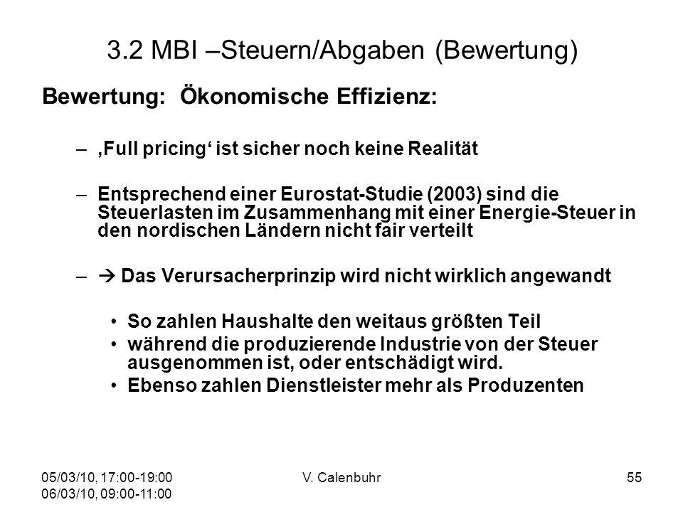 05/03/10, 17:00-19:00 06/03/10, 09:00-11:00 V. Calenbuhr55 3.2 MBI –Steuern/Abgaben (Bewertung) Bewertung: Ökonomische Effizienz: –Full pricing ist si