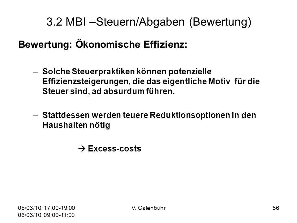 05/03/10, 17:00-19:00 06/03/10, 09:00-11:00 V. Calenbuhr56 3.2 MBI –Steuern/Abgaben (Bewertung) Bewertung: Ökonomische Effizienz: –Solche Steuerprakti