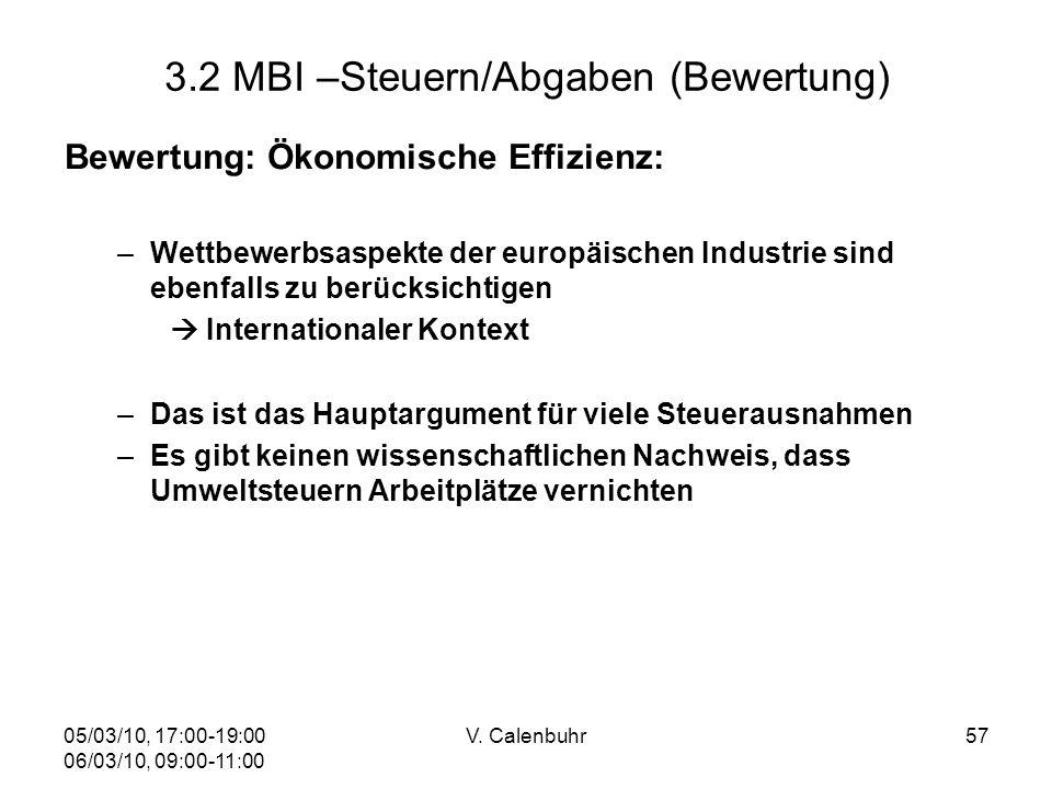 05/03/10, 17:00-19:00 06/03/10, 09:00-11:00 V. Calenbuhr57 3.2 MBI –Steuern/Abgaben (Bewertung) Bewertung: Ökonomische Effizienz: –Wettbewerbsaspekte