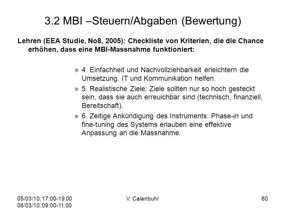 05/03/10, 17:00-19:00 06/03/10, 09:00-11:00 V. Calenbuhr60 3.2 MBI –Steuern/Abgaben (Bewertung) Lehren (EEA Studie, No8, 2005): Checkliste von Kriteri