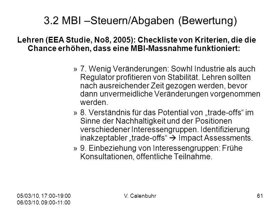05/03/10, 17:00-19:00 06/03/10, 09:00-11:00 V. Calenbuhr61 3.2 MBI –Steuern/Abgaben (Bewertung) Lehren (EEA Studie, No8, 2005): Checkliste von Kriteri