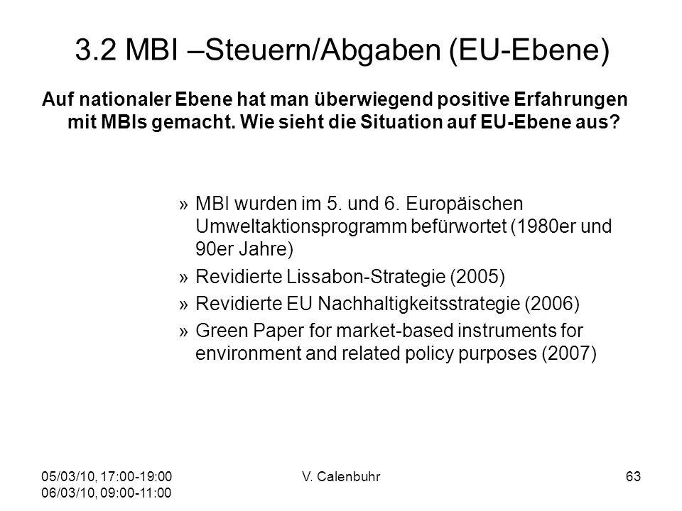 05/03/10, 17:00-19:00 06/03/10, 09:00-11:00 V. Calenbuhr63 3.2 MBI –Steuern/Abgaben (EU-Ebene) Auf nationaler Ebene hat man überwiegend positive Erfah