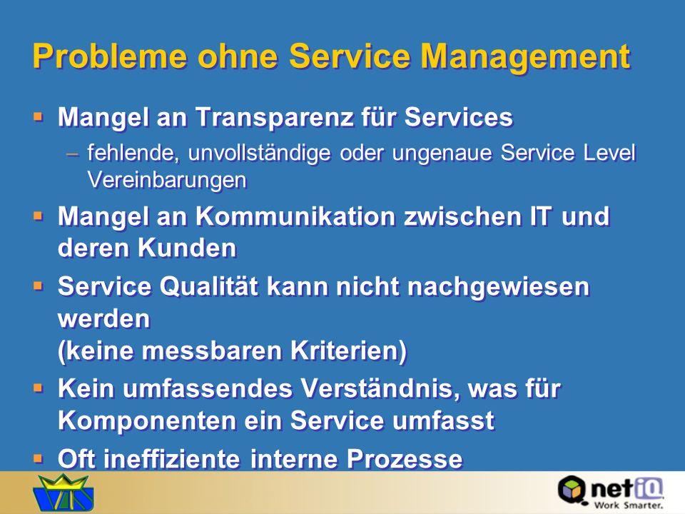 Probleme ohne Service Management Mangel an Transparenz für Services fehlende, unvollständige oder ungenaue Service Level Vereinbarungen Mangel an Komm
