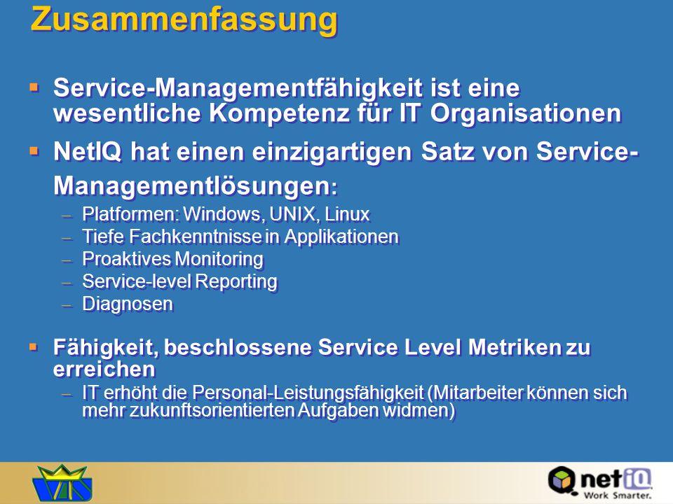 Zusammenfassung Service-Managementfähigkeit ist eine wesentliche Kompetenz für IT Organisationen NetIQ hat einen einzigartigen Satz von Service- Manag