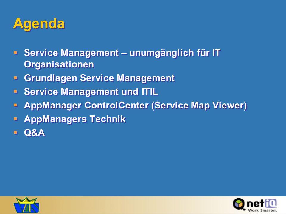 Agenda Service Management – unumgänglich für IT Organisationen Grundlagen Service Management Service Management und ITIL AppManager ControlCenter (Ser