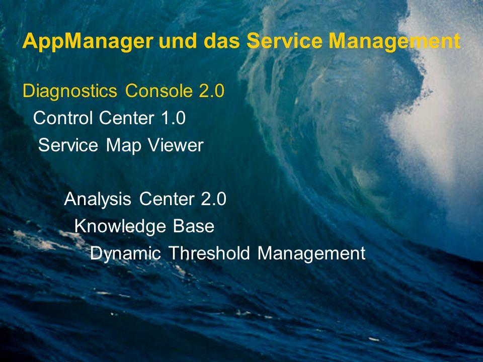 AppManager und das Service Management Diagnostics Console 2.0 Control Center 1.0 Service Map Viewer Analysis Center 2.0 Knowledge Base Dynamic Thresho