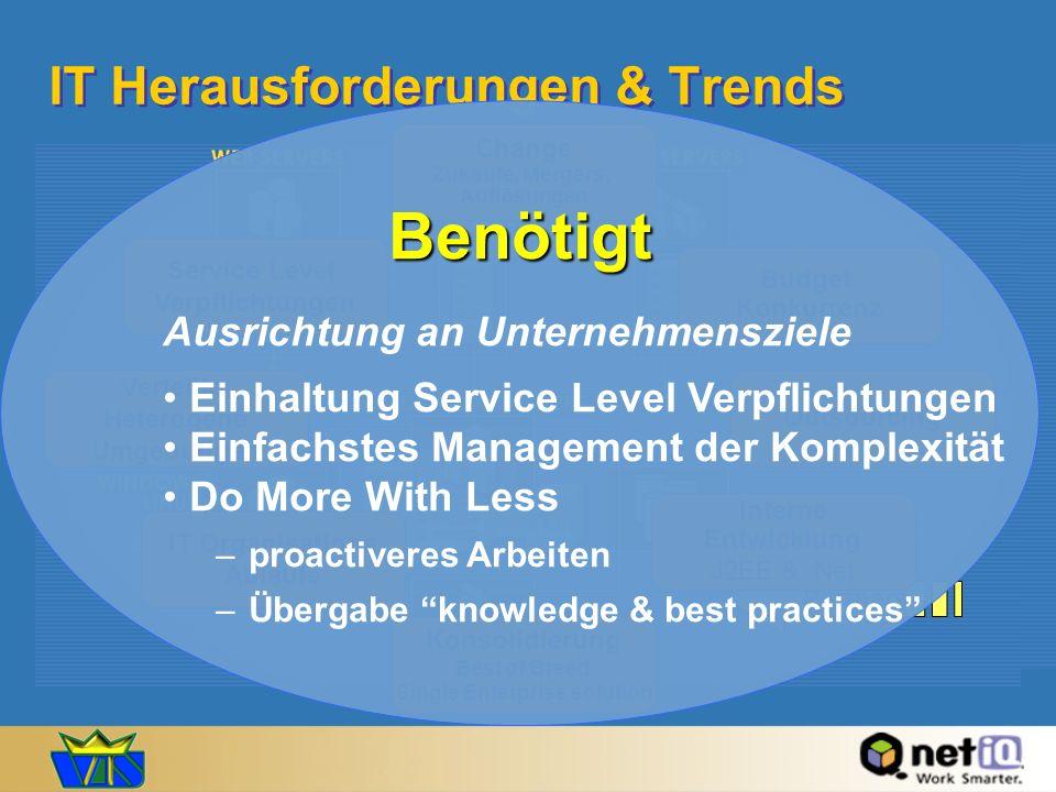 IT Herausforderungen & Trends Employees Customers Partners Service Level Verpflichtungen Change Zukäufe, Mergers, Auflösungen Interne Entwicklung J2EE