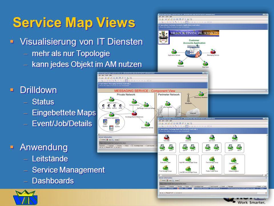 Service Map Views Visualisierung von IT Diensten mehr als nur Topologie kann jedes Objekt im AM nutzen Drilldown Status Eingebettete Maps Event/Job/De