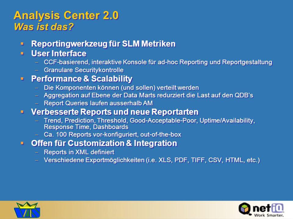 Analysis Center 2.0 Was ist das? Reportingwerkzeug für SLM Metriken User Interface CCF-basierend, interaktive Konsole für ad-hoc Reporting und Reportg
