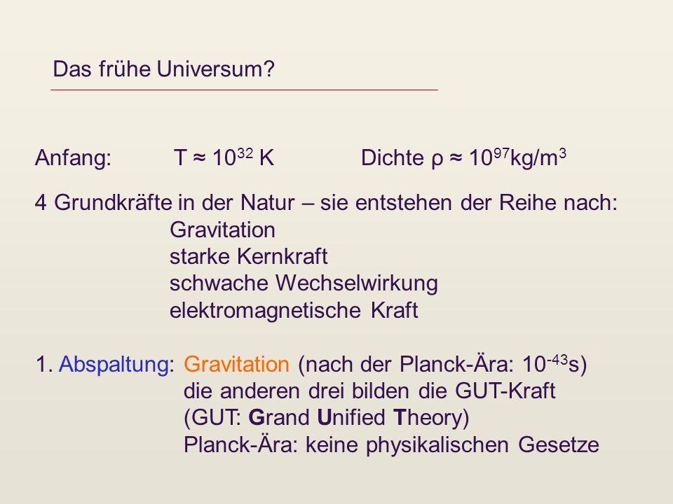 Das frühe Universum? Anfang: T 10 32 K Dichte ρ 10 97 kg/m 3 4 Grundkräfte in der Natur – sie entstehen der Reihe nach: Gravitation starke Kernkraft s
