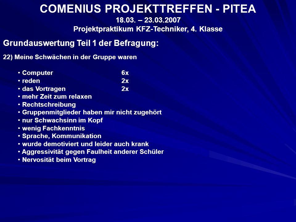 COMENIUS PROJEKTTREFFEN - PITEA 18.03. – 23.03.2007 Projektpraktikum KFZ-Techniker, 4.