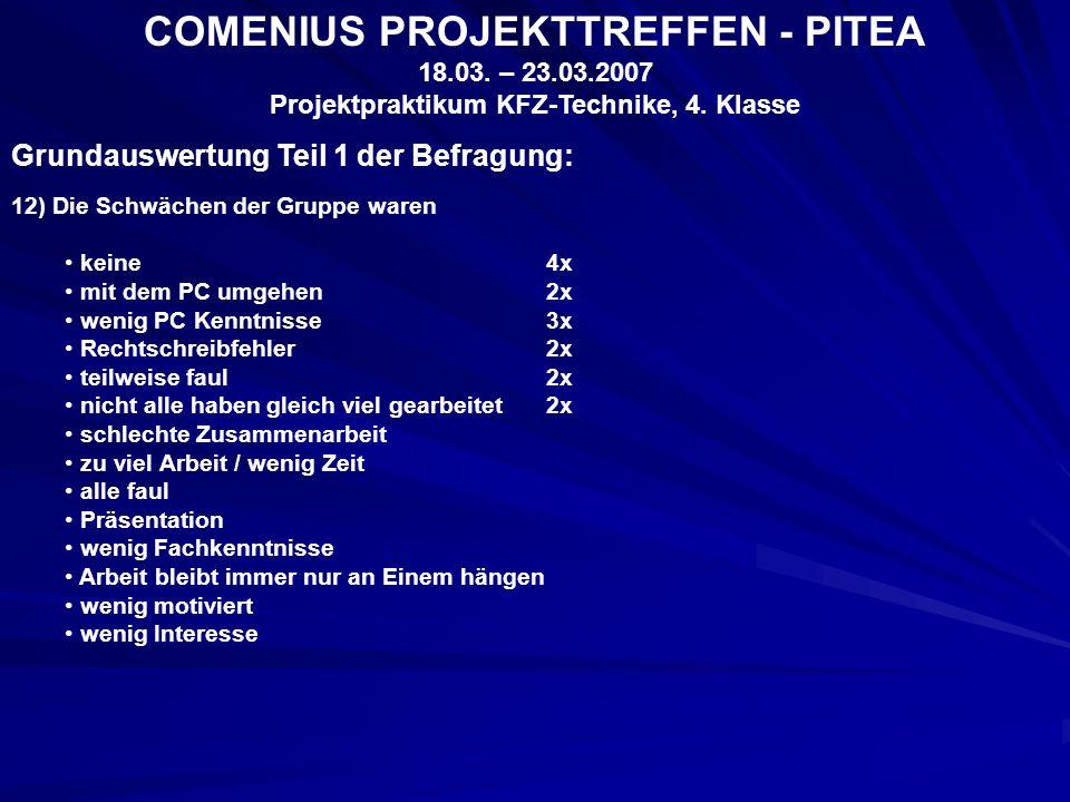 COMENIUS PROJEKTTREFFEN - PITEA 18.03. – 23.03.2007 Projektpraktikum KFZ-Technike, 4.