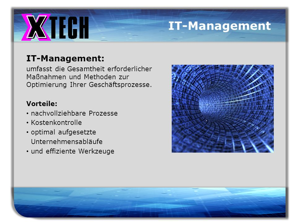 Titelmasterformat durch Klicken bearbeiten IT-Management IT-Management: umfasst die Gesamtheit erforderlicher Maßnahmen und Methoden zur Optimierung I